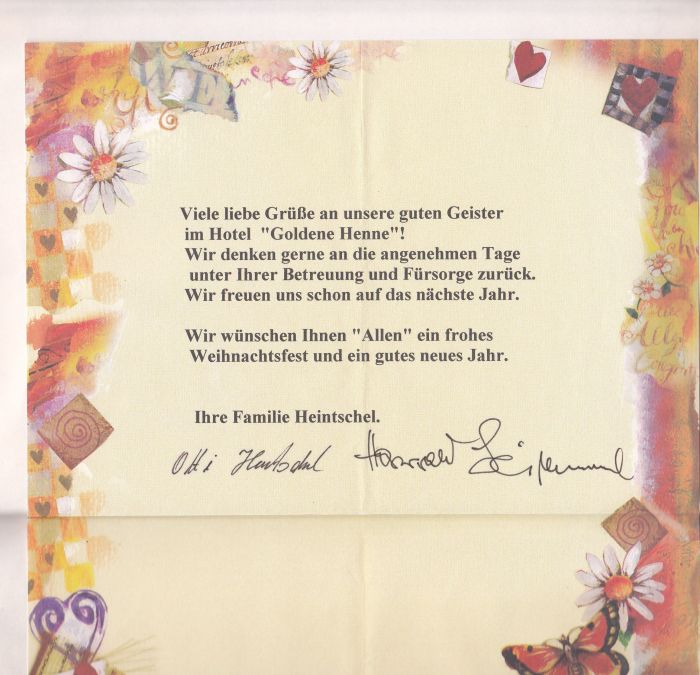 Goldene Henne Gästebuch
